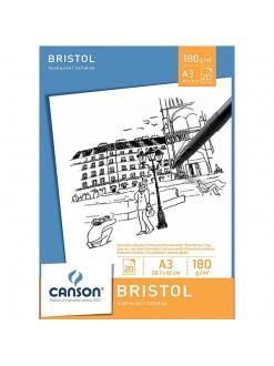Canson skicák Bristol Ilustracion A3, 29,7x42cm, 20 archů,180g/m2, lepená vazba