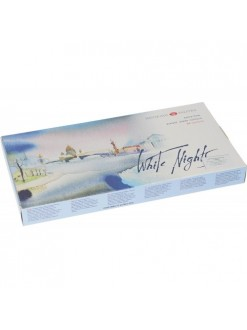 White Nights akvarelové barvy 24 ks pánviček 2,5 ml v papírovém kartonu