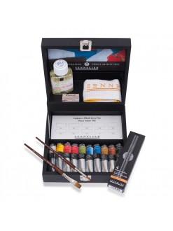 Sennelier dřevěný kufřík - olejové barvy 10x21 ml a příslušenství