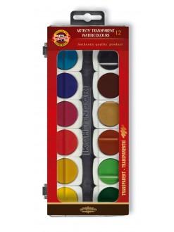 Barvy vodové 30 12 umělecké transparentní