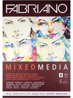 Fabriano Mix media 21x29,7 cm, 250g/m2, 40 listů, lepená vazba
