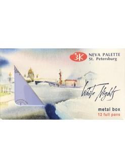 White Nights akvarelové barvy MetalBox fialový box 12 ks