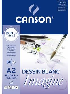 Canson Imagine skicák lepený, A2 50 listů, 42 x 59,4 cm, 200g/m2