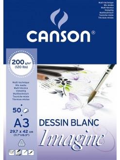 Canson Imagine skicák lepený 50 listů, 200g, A3