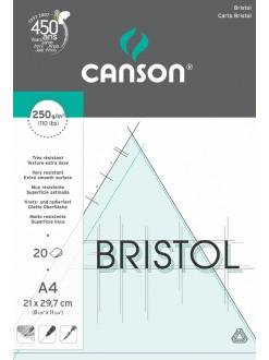 Canson Bristol skicák lepený A4, 20 listů, 250g, 21x29,7 cm