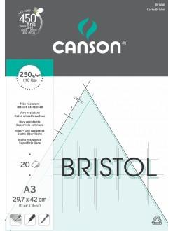 Canson Bristol skicák lepený A3, 20 listů, 250g, 29,7x42 cm
