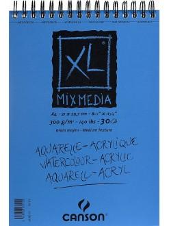 Canson XL Mix Media skicák,krouž.vazba(30archů,bílý,300g,A4)