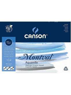 Canson Montval Aquarelle skicák lepený,18x25,12 listů,300g