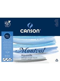 Canson Montval Aquarelle skicák lepený,24x32,12 listů,300g,lisováno za studena
