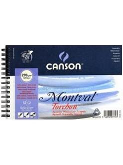 Canson Montval Torchon 13,5 x 21 cm, 12 listů, 270g/m, kroužková vazba