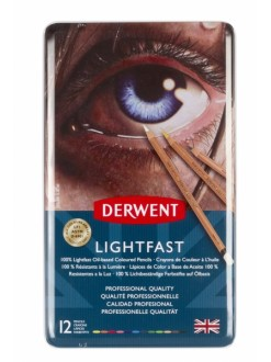 Olejové pastelky Derwent Lightfast tin sada 12 ks