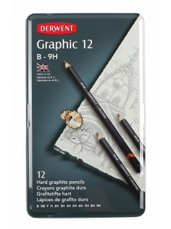 Derwent Graphic Hard - sada grafitových tužek 12 ks