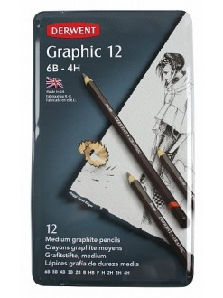 Derwent Graphic Medium - sada grafitových tužek 12 ks