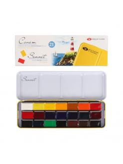 SONNET akvarelový set, 21 barev v miskách 2,5 ml