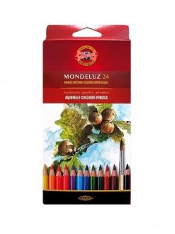 KOH-I-NOOR Mondeluz pastelky akvarelové, 24 kusů + štětec