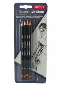 Derwent Graphic Medium - sada grafitových tužek 4 ks