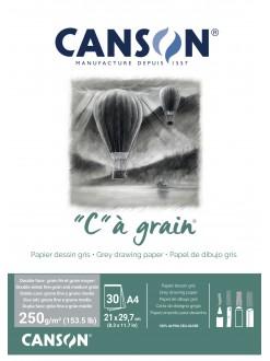 Canson C a grain skicák lepený A4 30 listů 250g/m2, 21x29,7cm šedý