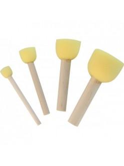 Elco sada houbičkových štětců s dřevěným držadlem 4ks