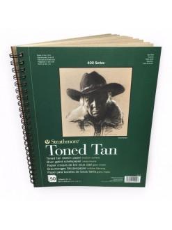 Strathmore Toned Tan skicíák 22,8 x 30,5 cm, 50 listů, 118 g, kroužková vazba