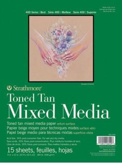 Skicák lepený tonovaný Mix media béžový 15x20cm