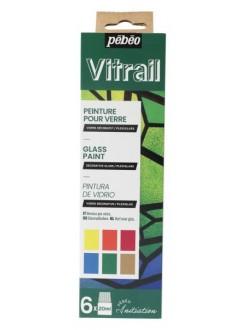 Pebeo Vitrail sada 6x20 ml barvy na sklo