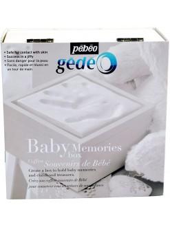 Gedeo sada BABY Memories - obtiskávací sada - krémová, dřevěná krabička