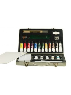 Studio acrylic akrylová sada barev + příslušenství  kovový kufřík Pébeo