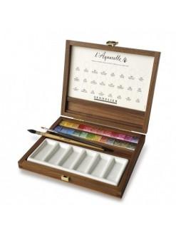 Sennelier sada akvarelových barev v dřevěném kufříku 24 ks