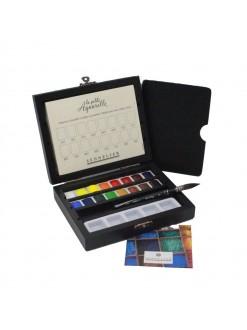 Sennelier Akvarelové barvy 16 druhů v dřevěné krabičce + štětec Raphael