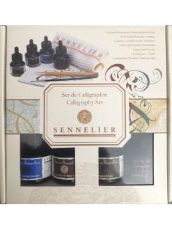 Sennelier kaligrafická sada 4 x ink. barva,skicákem,pero,štětec,utěrka
