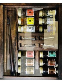 Sennelier kaligrafická sada  12ti inkoustů s násadkami v dřevenné kazetě