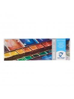 VANGOGH akvarelový set-plech,24 pánviček+štětec