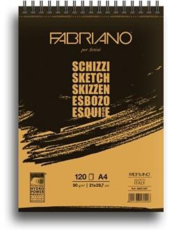 Fabriano Schizzi blok pro suché techniky, kroužková vazba, 90g/m - různé rozměry